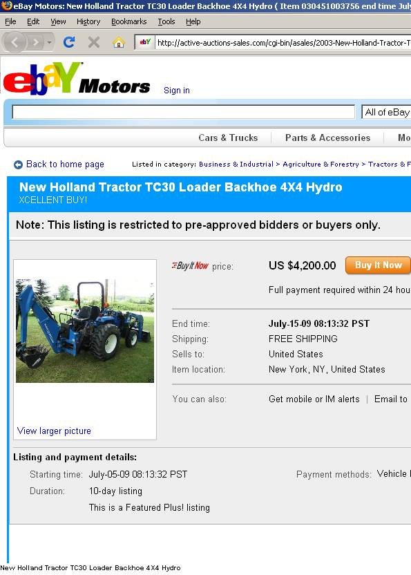 Scammer's Backhoe for sale