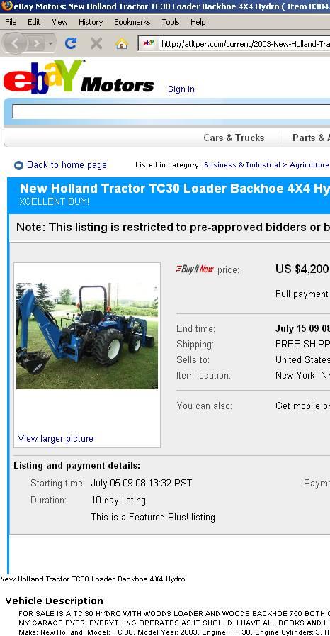 Scammer selling backhoe