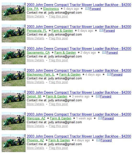 Scammer On Craigslist 2003 John Deere Compact Tractor Scammer Database