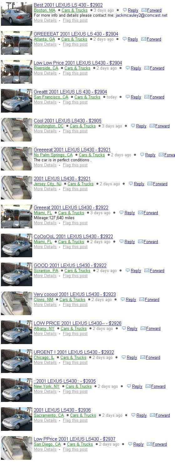 Craigslist Washington Dc Cars And Trucks >> Scammer Craigslist 2001 Lexus Ls 430 Price 2900
