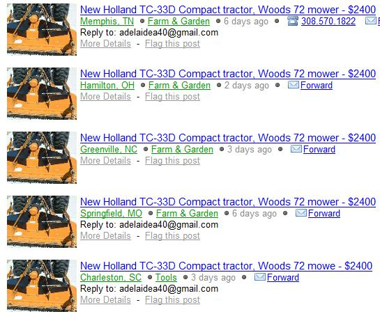 Scammer On Craigslist New Holland Tc 33d Compact Tractor Woods 72 Mower 2400 Scammer Database