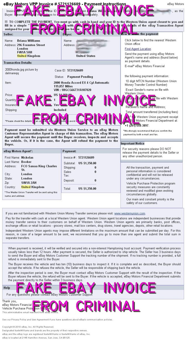 Fraud Fake Ebay Invoice Sale Of Honda Accord Scammer Database