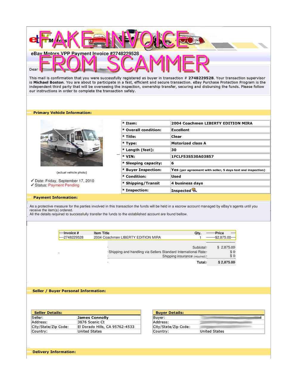 Scam Fake Ebay Transaction For 2004 Coachmen Liberty Edition Mira Scammer Database