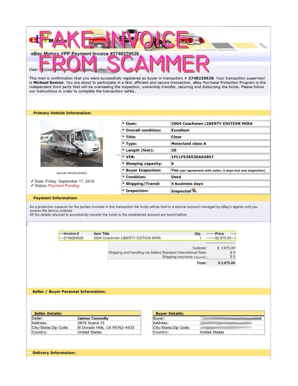 Scam Fake Ebay Transaction For 2004 Coachmen Liberty Edition Mira Scammer Database