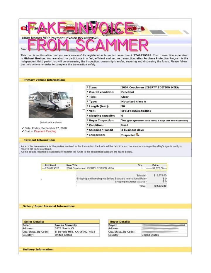 Scam Fake Ebay Transaction For 2004 Coachmen Liberty