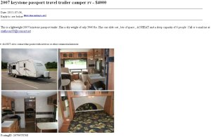 Fraudulent ad for 2007 camper